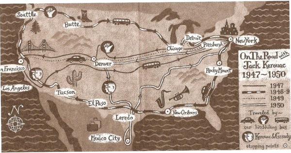 the map jack kerouac drew for on the road aleph
