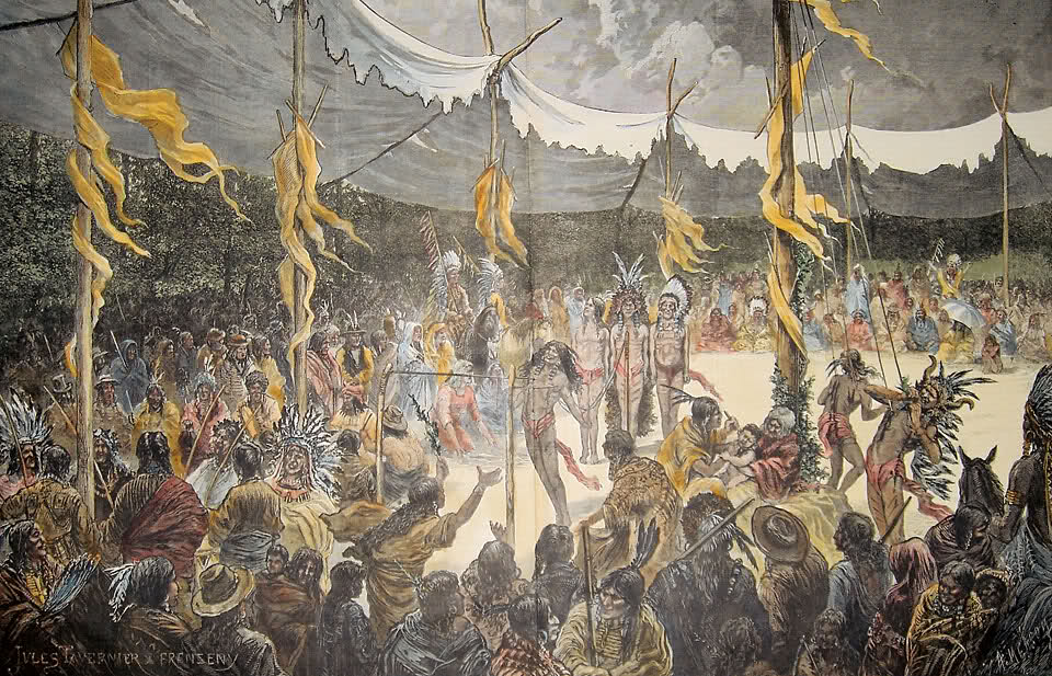 the sun dance ritual of the plains indians Sun dance, by an unidentified lakota artist, ca 1895, pigments on muslin the painting is the centerpiece of art from the northern plains at bowdoin college.