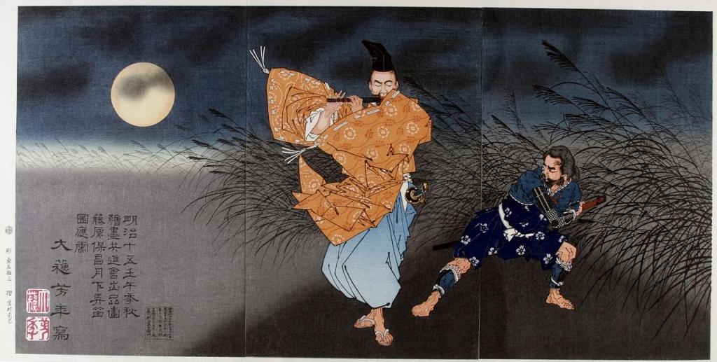 1280px-Tsukioka_(Taiso)_Yoshitoshi_(1839-1892),_Fujimara_Yasumasa_speelt_de_fluit_in_het_maanlicht_(1883)