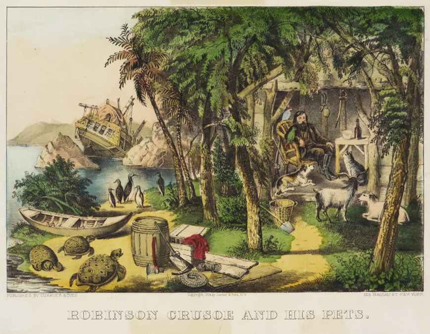 daniel-defoe-utopia-robinson-crusoe-and-his-pets-by-currier-ives
